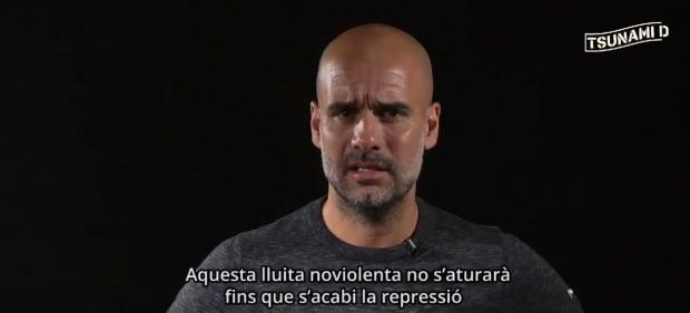 Pep Guardiola critica la sentencia del procés en un vídeo de Tsunami Democratic