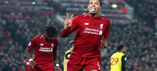 El neerlandés Virgil van Dijk celebra un gol con el Liverpool FC