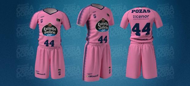 La camiseta rosa del Obradoiro para el Día Mundial contra el cáncer de mama